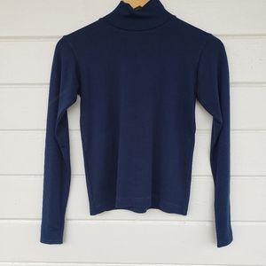 Silk Mock Turtle Neck Blue Long Sleeve Sweater
